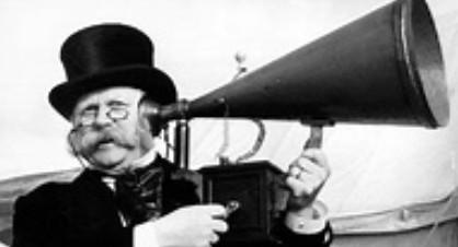 man using ear trumpet